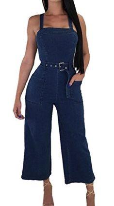76b79764438 FLCH YIGE Womens Sexy Sleeveless High Waist Wide Leg Denim Jumpsuit Rompers