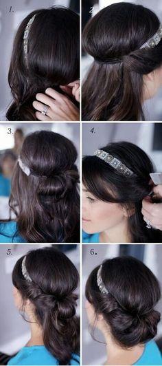 #tutoriel de coiffure en #chignon avec #bandeau cheveux longs, mi longs ou au carré, se coiffer facilement avec un tuto en photo simple et facile.