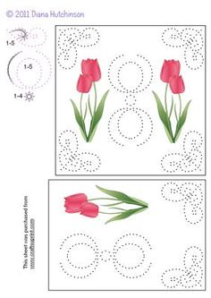 Tulips Card Front on Craftsuprint designed by Diana Hutchinson - Pretty Tulips for this stitching pattern in two sizes. - Now available for download!
