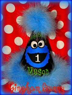 Cookie Monster Birthday Party Hat You choose cone by ginghambunny, $25.99