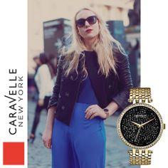 Black & Gold 44L121 Caravelle New York ladies watch.