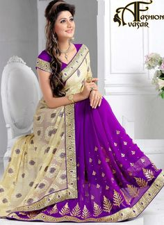 Add a vibrant burst of colour with your wardrobe with this Purple & DarkCream Georgette Saree. The ethnic ButtaWork & Lace work at the clothing adds a sign of attractiveness statement with your look.