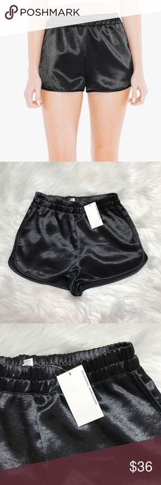 American apparel metallic high waist running short Size xsmall. Brand new with tags! Black metallic high waisted running shorts. American Apparel Shorts