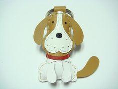 {Leatherprince 手工皮革} 台灣MIT 白色 可愛 米格魯狗 純手工縫製 皮革 鑰匙圈 / Lou the Beagle Leather Keychain ( Brown ) - 設計師品牌 leatherprince - Pinkoi