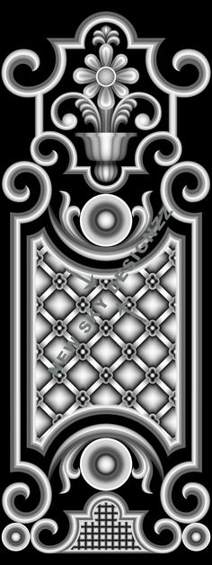 artcam fancy Islamic Motifs, Islamic Art Pattern, Pattern Art, Carving Designs, Stencil Designs, Door Design, 3d Design, Indian Embroidery Designs, Grayscale Image