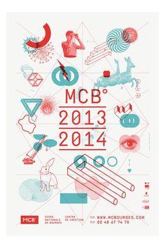 Saison 2013 2014 pour la MCB°, scène nationale de Bourges Affiche format 120x176cm, impression Pantone 320 et Pantone 812 2X (fluo) Texte composé en Simplon BP Simplon BP Mono (© Emmanuel Rey, BPFoundry)