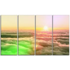 DesignArt 'Sunset on Hills Above Clouds' 4 Piece Graphic Art on Wrapped Canvas Set
