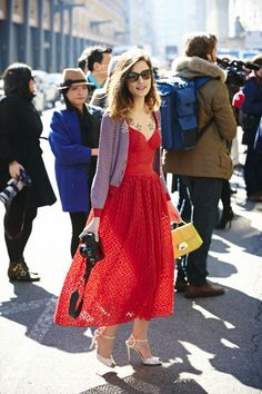 Winter Outfit Ideas From New York Fashion Week Fall 2013.  Outfit Idea: Look ladylike in a full skirt and peep-toe heels
