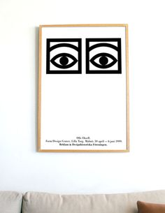 Olle Eksell OFFSET PRINT LITHOGRAPH Cocoa Eyes Danish Modern Scandinavian Mid Century Eames Poster Dansk Plakat / Free Shipping Worldwide