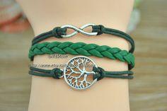 Tree of life bracelet  Infinity bracelet  Green by GiftShow, $2.99