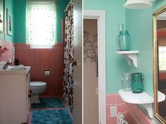 Traditional Bathroom By Jeff Jones Snap It Photography Love The Acqua With Pink Tiles For A Retro Scheme