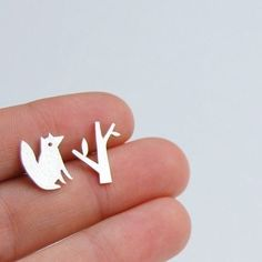 cute fox and tree stud earrings