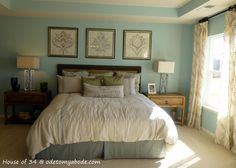 oard and batten headboard ideas | Bright and happy master bedroom.