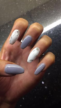 My Grey and marble coffin nails! #nailspo