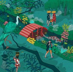 Nicolás Castell is an illustrator based in Granada. His personal project called 'Ukiyo-e Tale' features the journey of a foreign artist traveling in ancient Ja