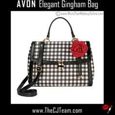 Elegant Gingham Bag. Avon. Gingham-printed leather-like saffiano with leather-like trim. Ciao, Bella! Inspired by the ITALIAN FLAIR FOR THE DRAMATIC, the SPRING SIGNATURE COLLECTION turns up the volume with SPLASHY PRINTS, BOLD COLORS, ULTRA-FEMININE silhouettes and high-impact accessories.  NEW! Regularly $39.99.  #CJTeam #Avon #Style #Sale #Fashion #New #Bag #Purse #Tote #C8 #Gingham  FREE shipping with any $40 online Avon purchase.  Shop Avon fashion online @ www.TheCJTeam.com