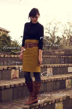 Pencil skirt with boots and tights. Change the color of the skirt and I would wear it.