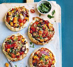 Lentil, roast squash & feta open pies - Healthy Food Guide