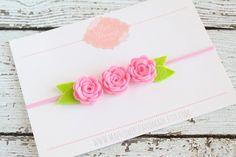 Felt Flower Headband - Pink Flower Headband - Bloom Trio - Pick Your Own - Newborn - Baby - Toddler - Child - Girls