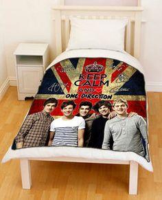 New  1D  Keep Calm And Love  One Direction  Union Jack Flag Fleece Throw Blanket