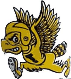 Iowa Hawkeyes Primary Logo (1962) - Hawk in a football helmet with a I on his shirt