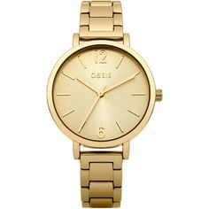 OASIS Gold Bracelet Dial Watch ($78) ❤ liked on Polyvore featuring jewelry, watches, accessories, bracelets, metallics, bracelet wrist watch, gold wristwatches, gold wrist watch, gold-face watches and gold jewellery
