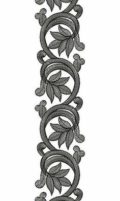 Afternoon Dresses Lace Embroidery Design Plus Border Embroidery Designs, Embroidery Motifs, Ribbon Embroidery, Machine Embroidery Designs, Motif Floral, Floral Border, Carving Designs, Border Design, Textile Patterns