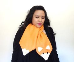 Sly Pete Fox Scarf Orange Fleece Fox by shopofworldlydelight - scarf f/s on Etsy - I think it was made from the same freebie pattern I have bookmarked - this is a cute version :):