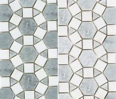Designer Sarah Richardson used this stunning pinwheel tile (pictured left) in a bathroom featured in our March 2012 issue. Variations in the Ming green add a subtle dose of colour. The soft Carrera and Thassos combination (on the right) works with a number of colour schemes.    Sunflower polished-marble tile. Saltillo Imports.    Products: Sunflower polished-marble tile, Saltillo Imports.