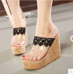 fb95ac10aa0 2016 été nouvelle bohème pente avec transparent haute sandlas films femme  banquet dentelle peep toe femmes chaussures dans Pompes de femmes de  Chaussures ...