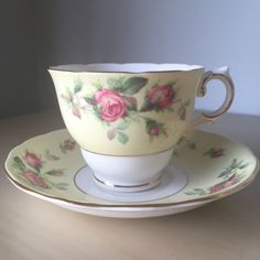 Colclough Vintage Teacup and Saucer, Pink Rose, Pale Yellow Tea Cup and Saucer…