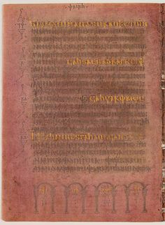 "Page from the Codex Argenteus, ""Silver Book"", a 6th century manuscript originally containing bishop Ulfilas's 4th century translation of the Bible into the Gothic language written in silver and gold ink. Of the original 336 folios, 188—including the Speyer fragment discovered in 1970—have been preserved, containing the translation of the greater part of the four gospels. A part of it is on permanent display at the Carolina Rediviva library in Uppsala, Sweden.[1]"