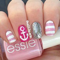 #nails #manicure #pink #glitter #essie nail polish #boats #silver #white