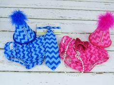 Boy Girl Twins First Birthday Set in Bold by FuzzyCheeksBoutique
