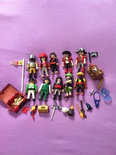 Lot of 10 Playmobil Pirate Figures With Accessories Treasure Chest Gold Coins  #PLAYMOBIL