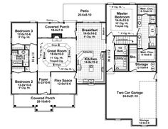 First Floor Plan of Craftsman   European   Traditional   House Plan 59946