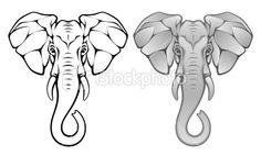 elephant head tattoo, shape