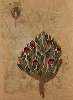 Textile fragment with pomegranate tree (6th-7th c.), Cyprus