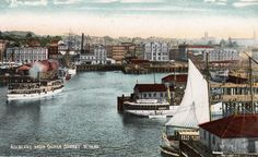 "Auckland from Queen Street Wharf in about 1900. From a Postcard by W. Beattie & Co., Fine Art Publishers, Auckland, N.Z. The ""Moa"" Series."
