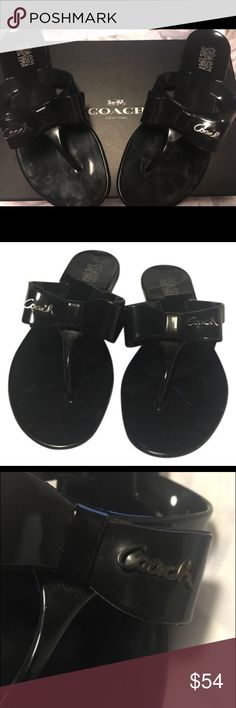 COACH prettyA8533 Silver Logo Bow Jelly Sandals COACH style- Pretty jelly coach thong with silver signature and bow A8533 style - Pretty Excellent condition / box included (optional) Coach Shoes Sandals