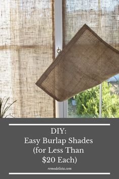 Inexpensive, easy DIY project to create your own burlap shades. - Inexpensive, easy DIY project to create your own burlap shades. Informations About Inexpensive, easy - Burlap Window Treatments, Window Coverings, Small Window Treatments, Farmhouse Window Treatments, Window Treatments Living Room, Diy Home Decor Projects, Easy Home Decor, Decor Ideas, Decorating Ideas