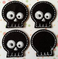 Black and White Halloween Skulls Felties, Great for Halloween, Hair Bow Centers, Scrapbooking, Felt Applique. $3.20, via Etsy.