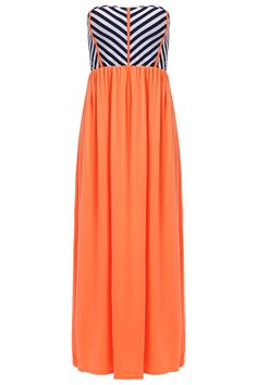 Alluring Strapless Striped Maxi Dress For Women