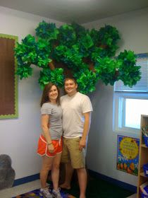 "I was going to be really clever and do a ""Flashback Friday"" post about my DIY Tree that my rock star of a husband and I built 3 years ago fo. Paper Tree Classroom, Classroom Decor, Reggio Classroom, Classroom Displays, Kids Church Decor, Elementary Classroom Themes, Jungle Crafts, Apple Festival, Jungle Tree"