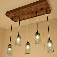 Antique Blue Mason Jars Chandelier - Mason Jar Lighting - Upcycled Wood from LadyBagsSF