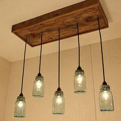 Antique Blue Mason Jars Chandelier - Mason Jar Lighting - Upcycled Wood from LadyBagsSF