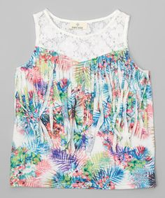 Look what I found on #zulily! Green Floral Tassel Tank - Toddler & Girls #zulilyfinds