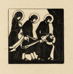 """""""The Body of Jesus is Laid in the Tomb"""" by Eric Gill (1917).  Tate Collection.  Relief print on paper."""