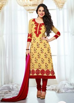 USD 66.36 Yellow Embroidered Faux Georgette Salwar Kameez 29529