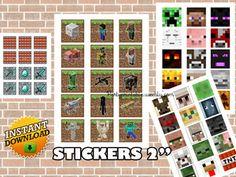 MINECRAFT STICKERS  Minecraft printable decoration Minecraft scrapbooking…